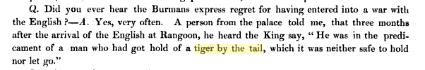 http://books.google.com/books?pg=RA1-PA65&vq=tiger+by+the+tail&id=GyYAAAAAQAAJ#v=onepage&q=%22tiger%20by%20the%20tail%22&f=false