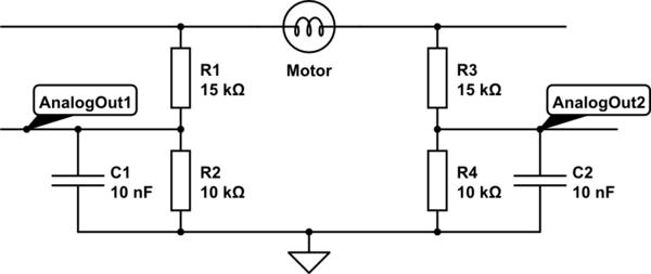 How to measure H-Bridge motor voltage using ADC
