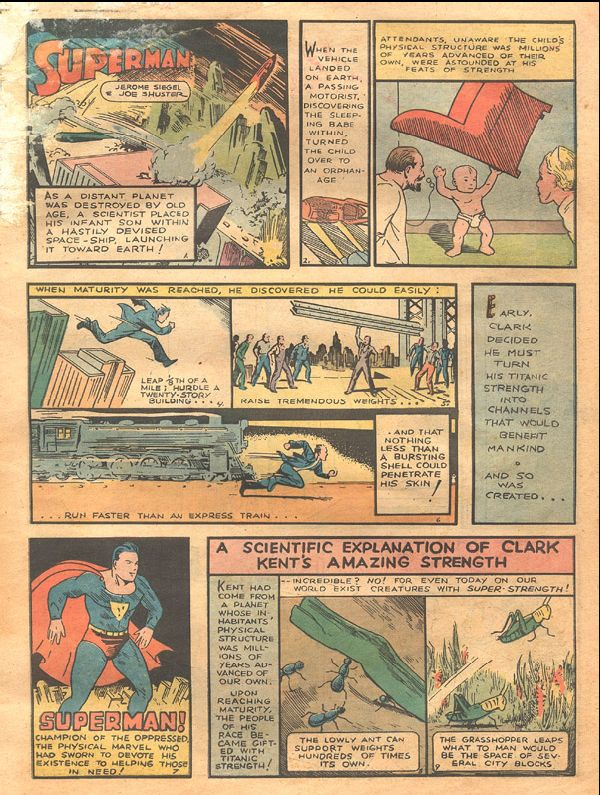 An early page showing Superman's powers