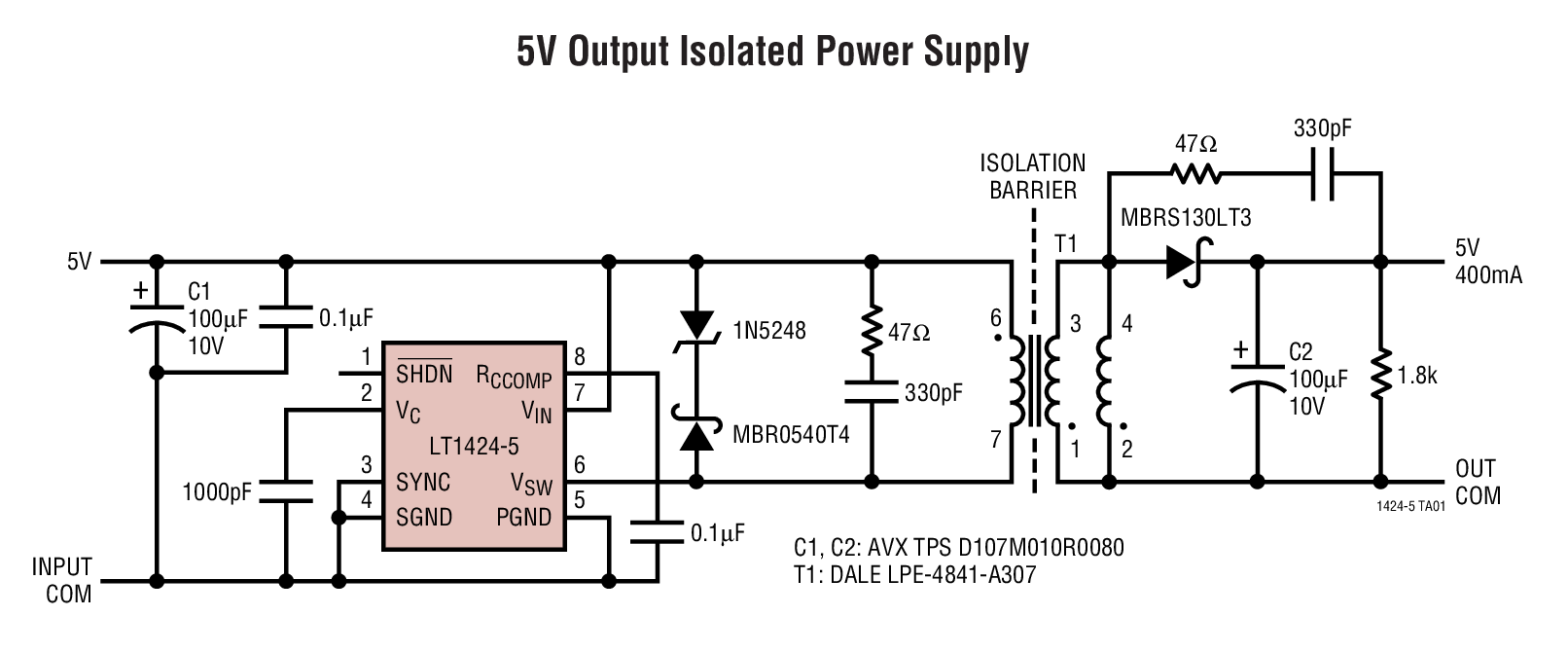 High Frequency Transformer Configuration for an Electronic