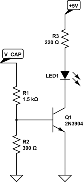 Led charge indicator for small supercapacitor (1F x 5.5v