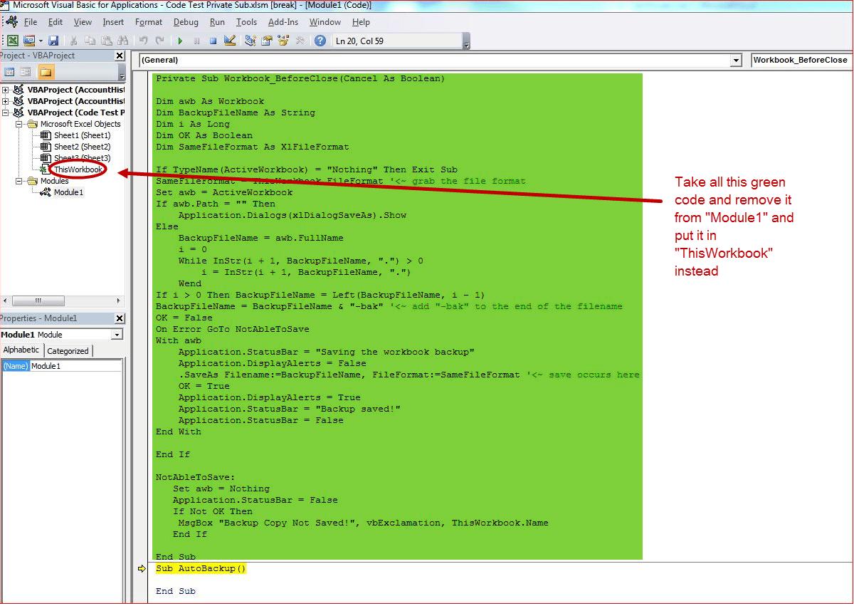 Backup When Closing File Excel Vba