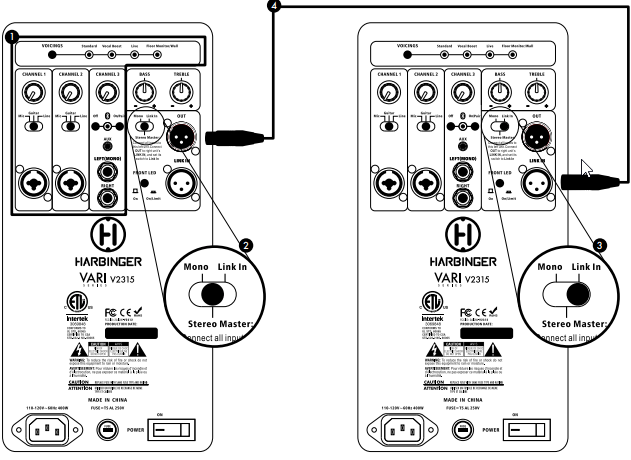 Best way to connect Yamaha mixer to powered Harbinger