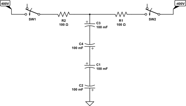 circuit with two seriesconnected electrolytic capacitors enlarge