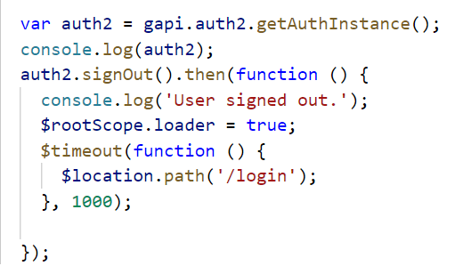 gapi auth2 getAuthInstance() become null after page reload  So while