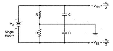 Why are capacitors used when obtaining dual power supply