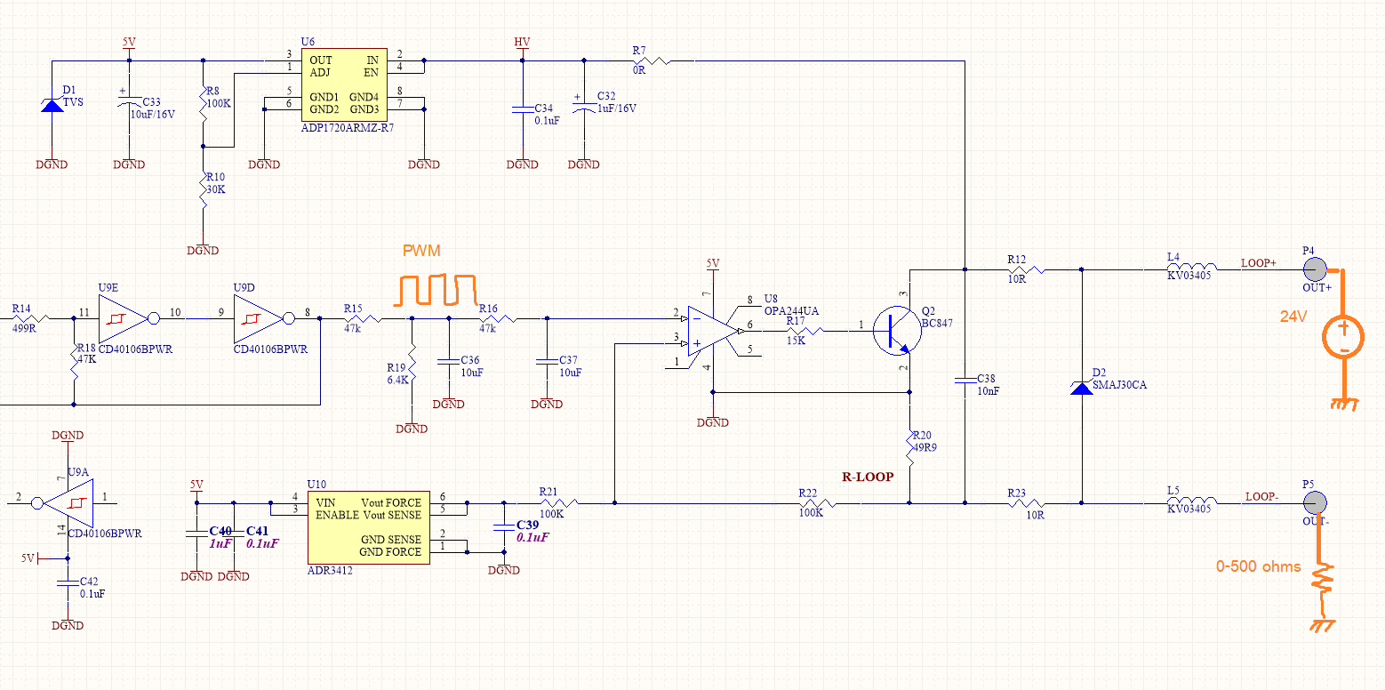 hight resolution of my problem is when i try to drive 4 20ma output current with 0 500 ohms load resistor at around 400 500 ohms load the circuit sense output current as