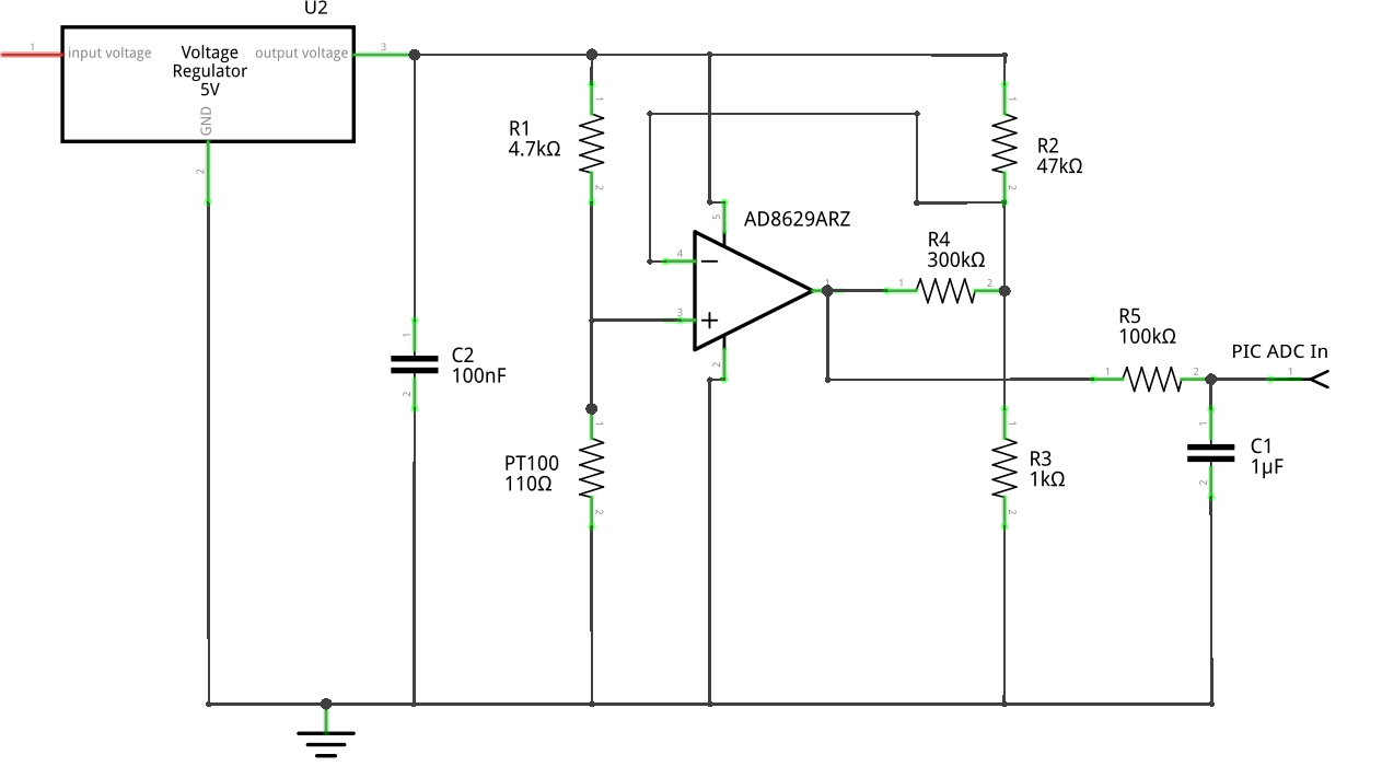 hight resolution of tips for improving this pt100 sensor amplifier circuit electrical the opamp as a temperature alarm 1 circuit schematic diagram