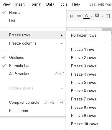 How can I create a fixed column header in Google Spreadsheet like ...