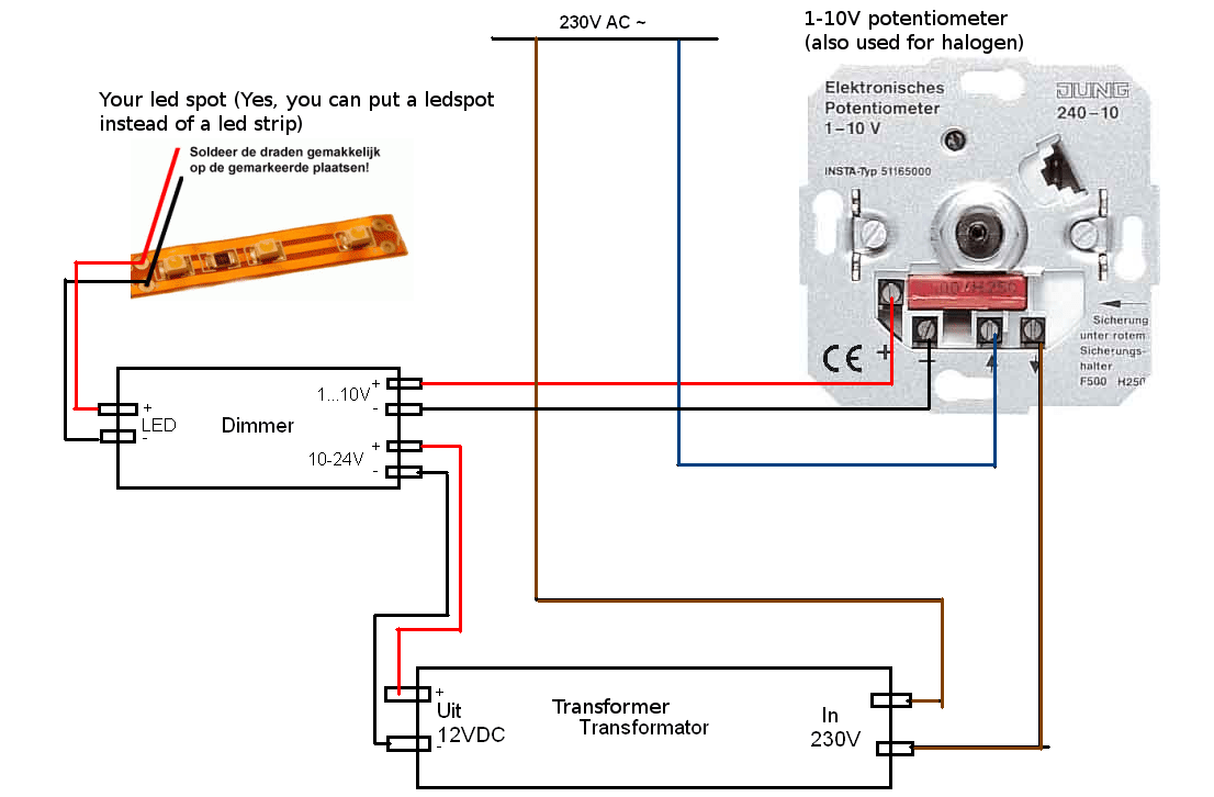 hight resolution of  halogen dimmer electrical engineering rh electronics com led light bulb dimming circuit led cathode vs anode led with simple led light circuit diagram
