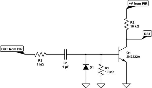 Convert 2s pulse into short pulse to wake up ESP8266