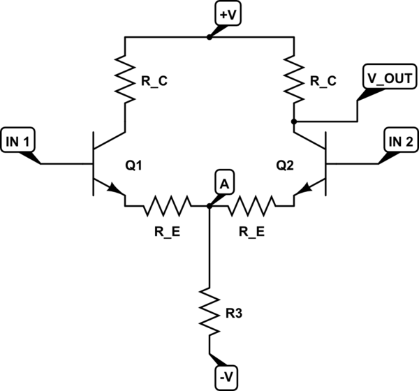 BJT Differential Amplifier Common Mode & Differential Mode