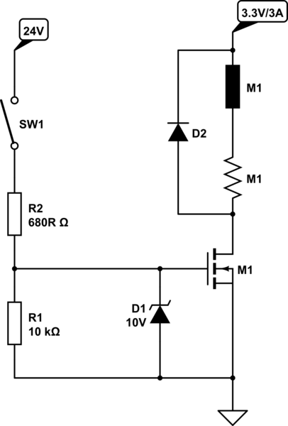 Drive MOSFET by a 24V input signal of an industrial