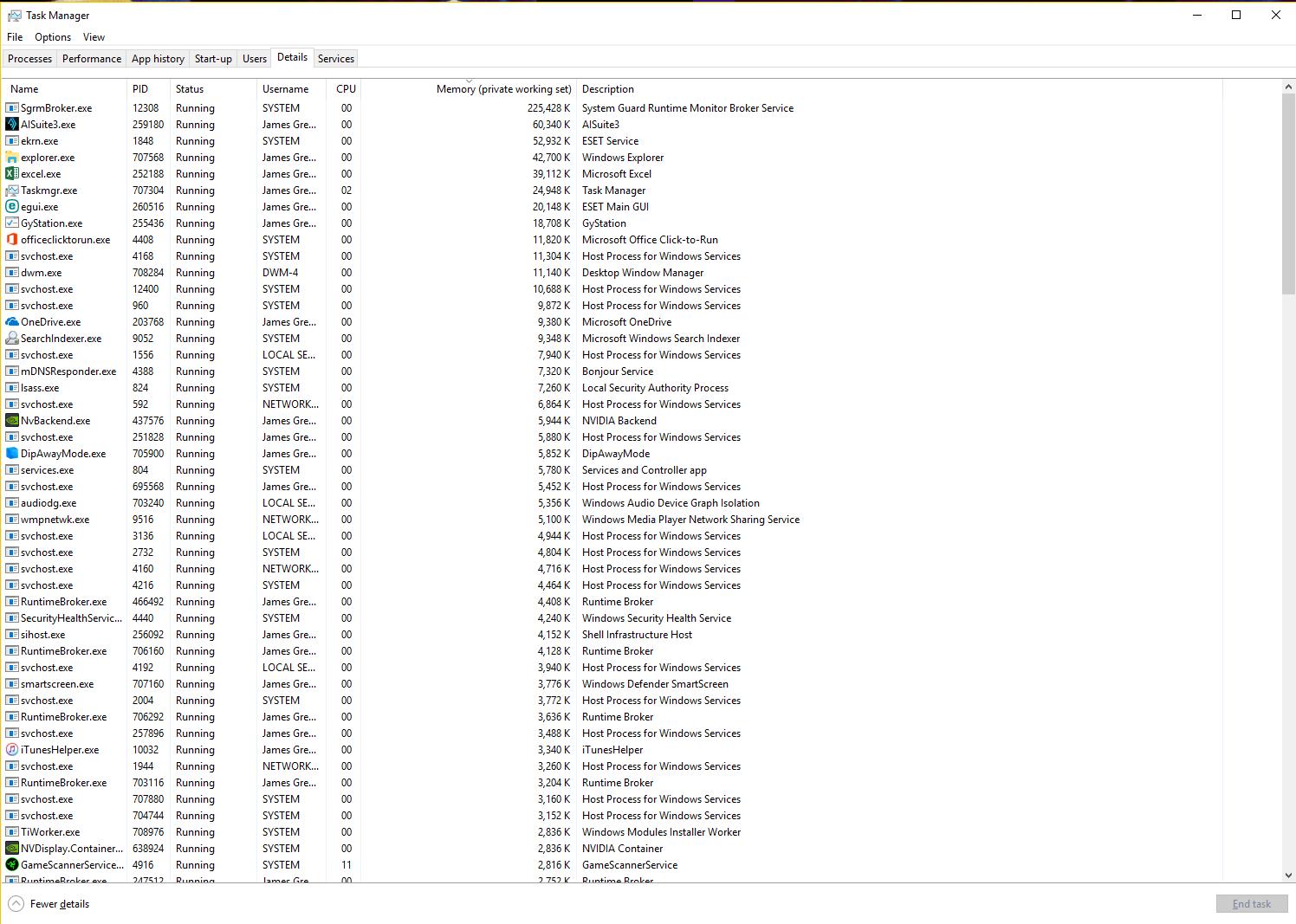 High Memory usage (before computer restart) on windows 10