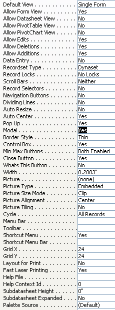 MS Access Forms resize when Modal and Popup are set to