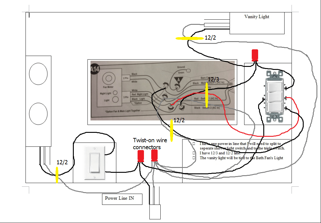 light switch outlet wiring diagram 12 volts battery charger circuit with 3 wire data schematic how do i challenging bath situation home improvement 8 gauge electrical enter image