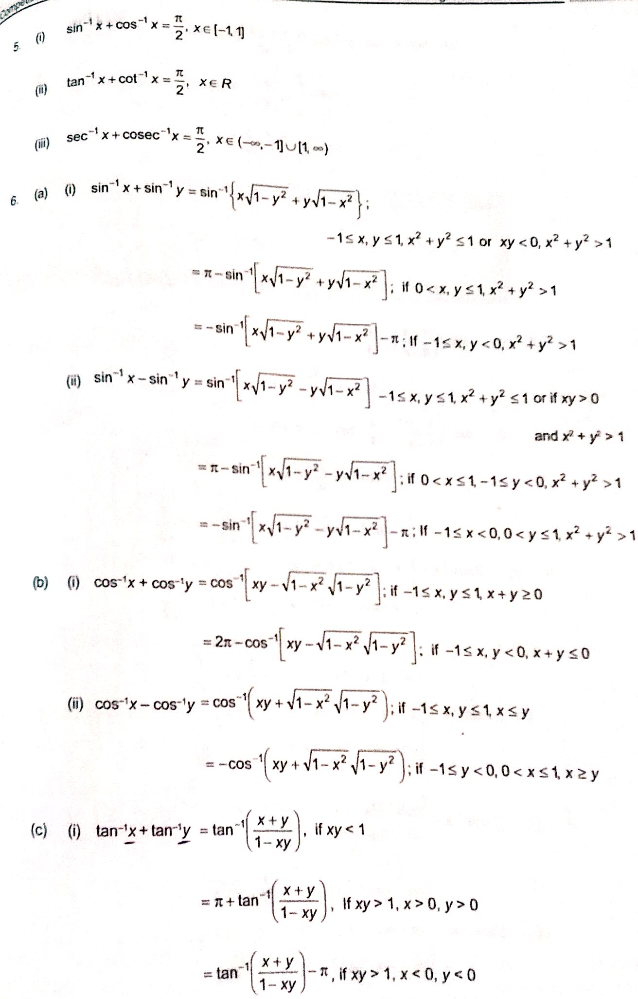Sums Of Inverse Trigonometric Functions