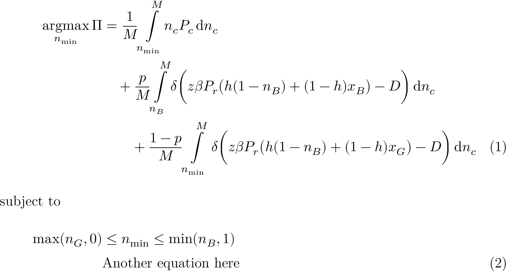 How to align equations with integrals and