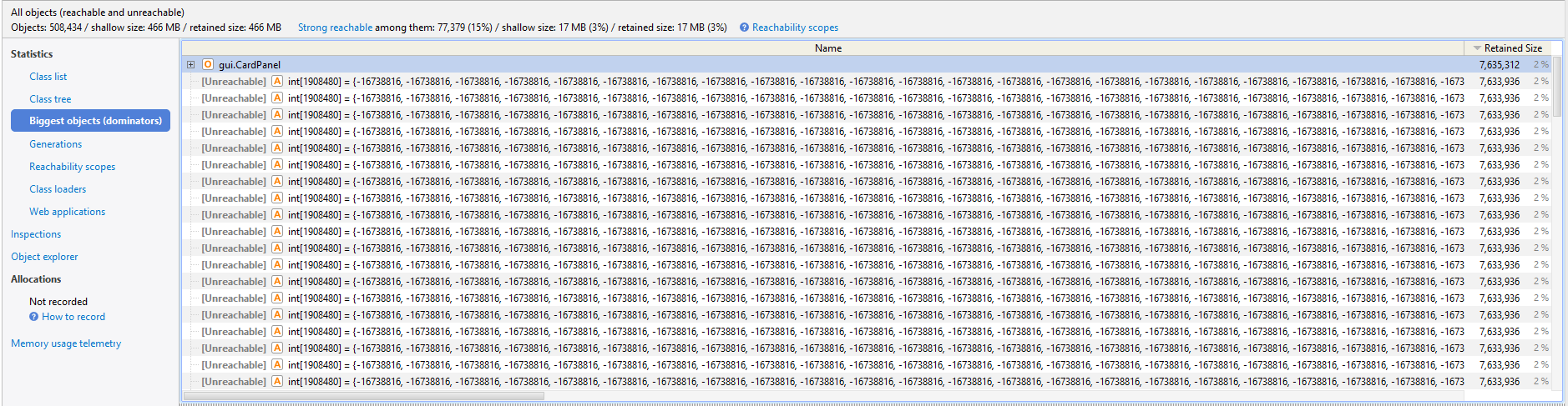 Memory Leaks in Java (Swing) - Stack Overflow
