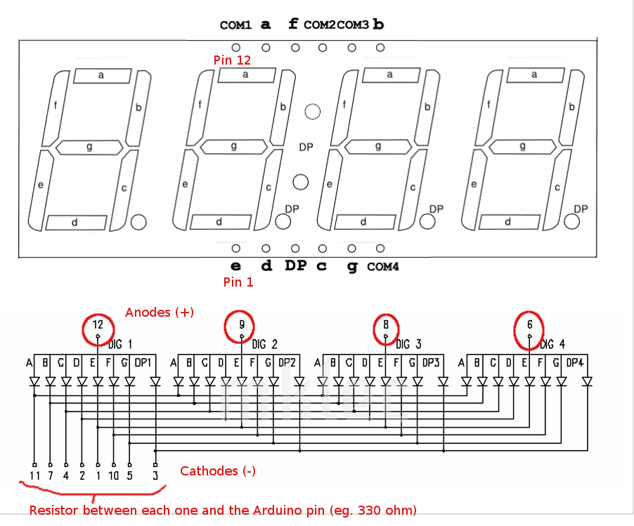 7 Segment Display Arduino Wiring Diagram