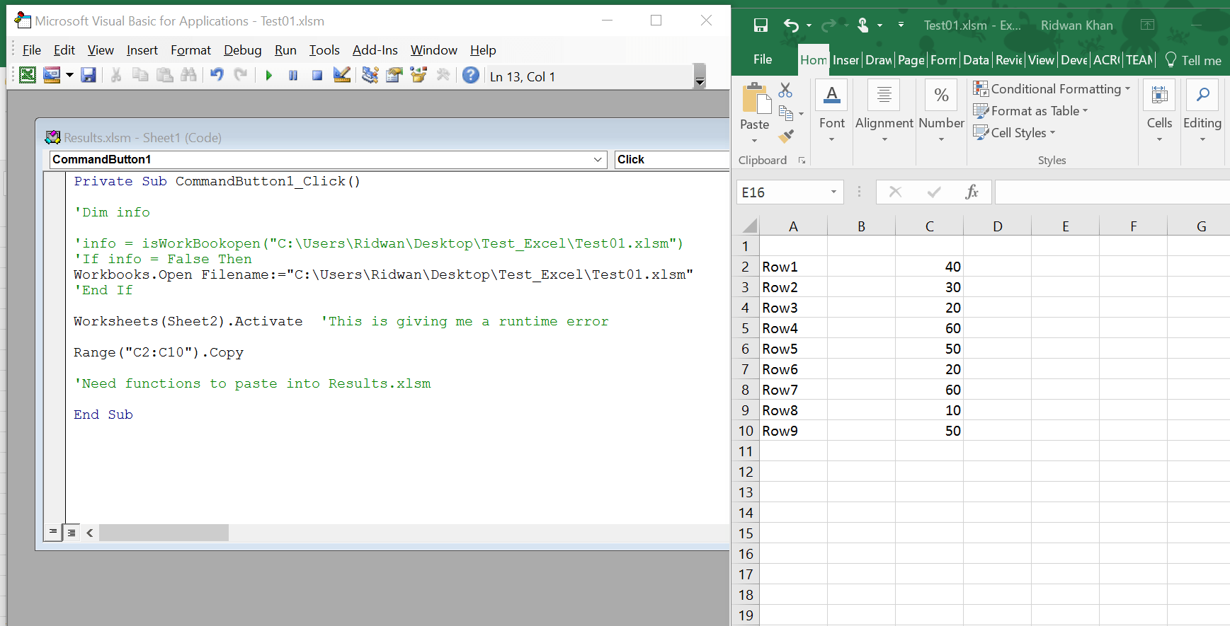 Worksheet Excel Vba