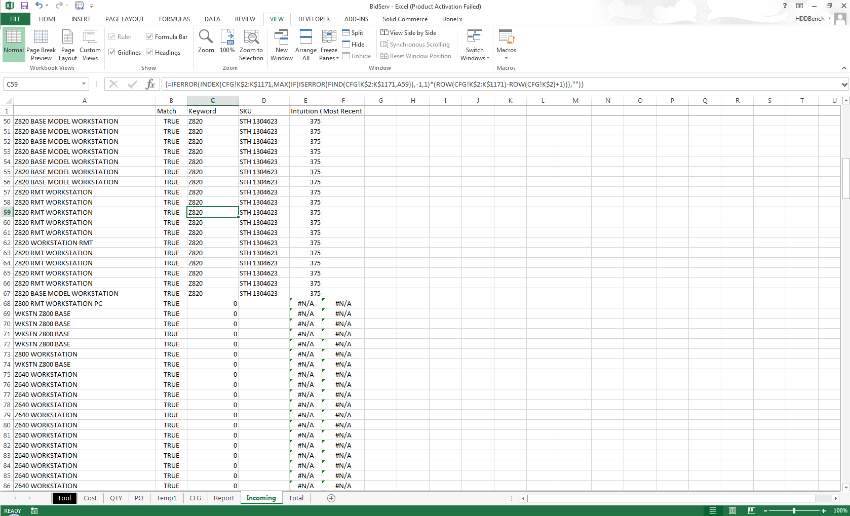 Excel Array Formula Not Working Out For Me