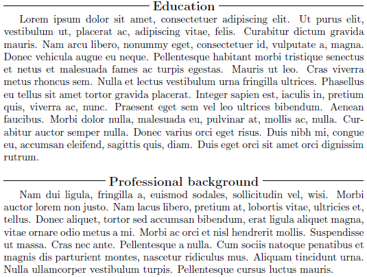 Sectioning Fancy Style Section Titles For A Resume TeX LaTeX