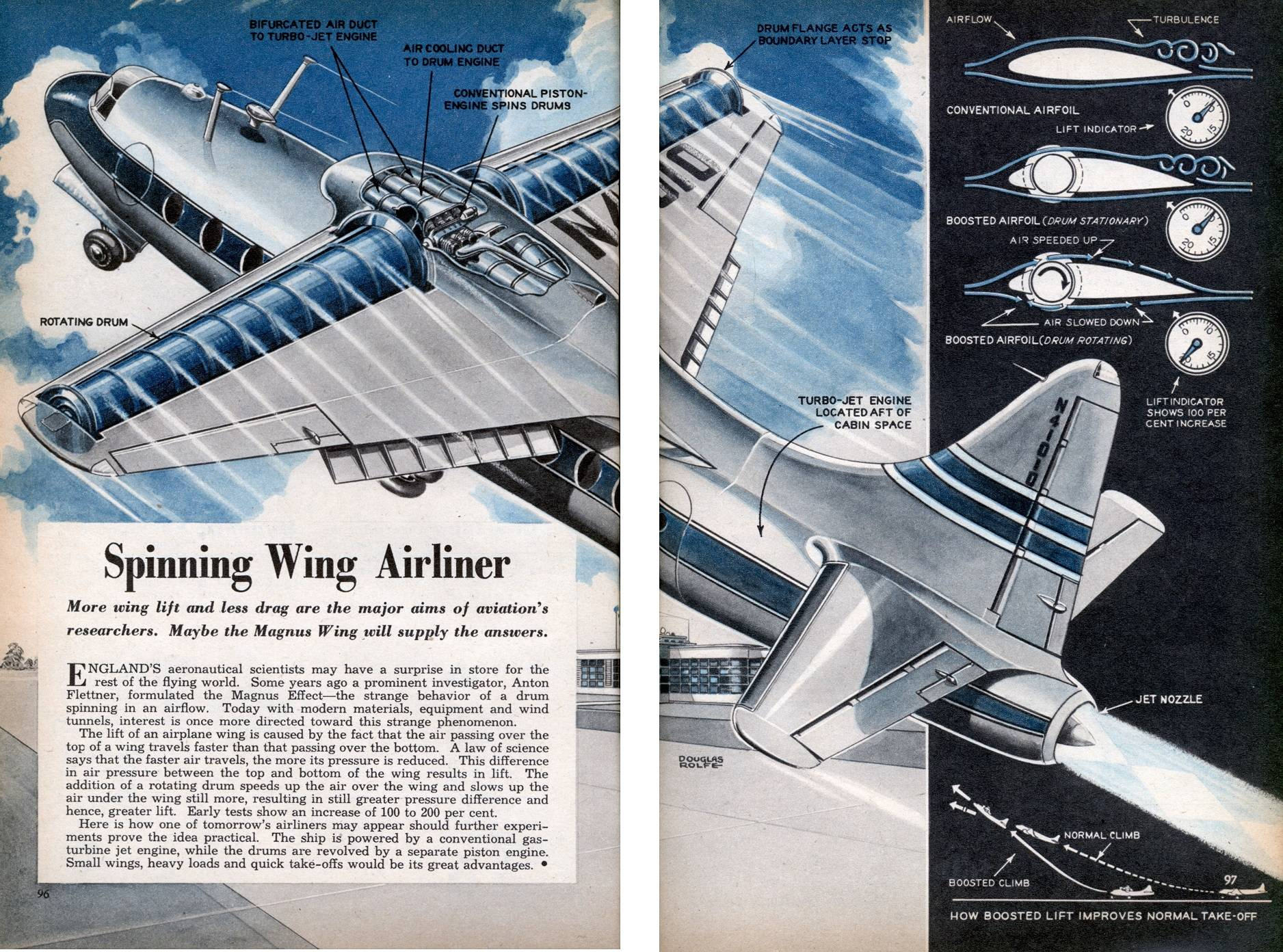 hight resolution of spinning wing airliner diagram