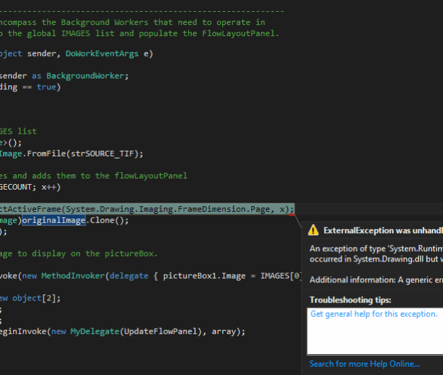 A Screenshot Of The Code Causing The Error This Is The Backgroundworker That Does All