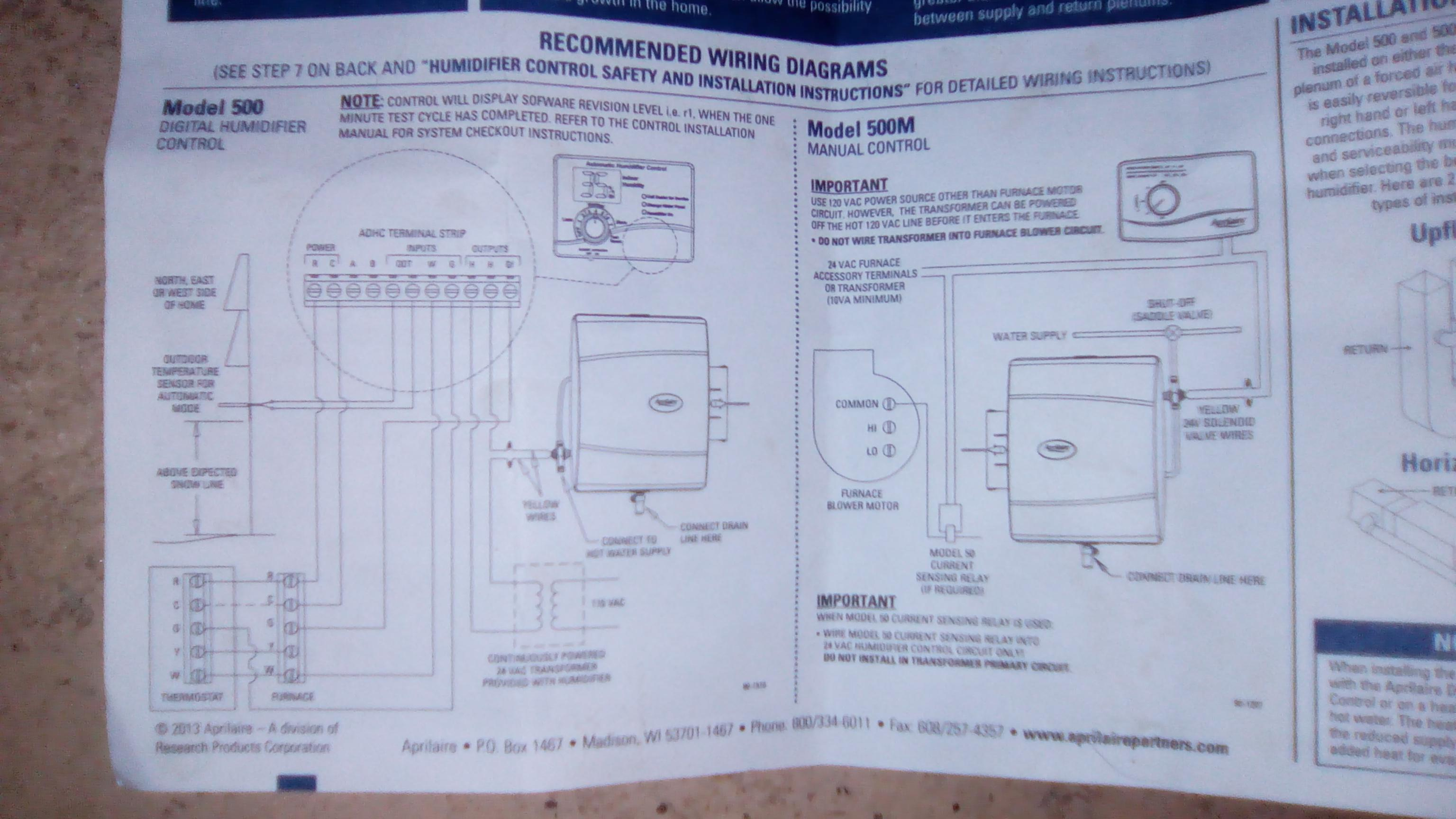 honeywell humidifier he365 wiring diagram 2000 sportster 1200 aprilaire 500 on an amana ams8 furnace