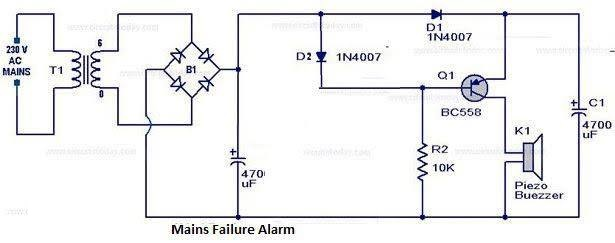 Power Failure Alarm With High Sound Circuit Diagram