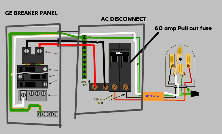 50a Rv Plug Wiring Diagram 120 Volt Electrical How To Hook Up 120v Amp 240v On Ac Disconnect
