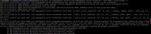 Trying to run the Language tool server