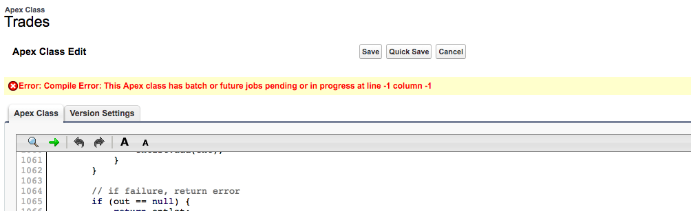 apex - Can't Save Class (batch or future jobs pending or in progress) - Salesforce Stack Exchange