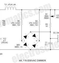 power electronics what is the rectifier s role in this ac dimmer ac dimmer circuit schematic [ 1634 x 683 Pixel ]
