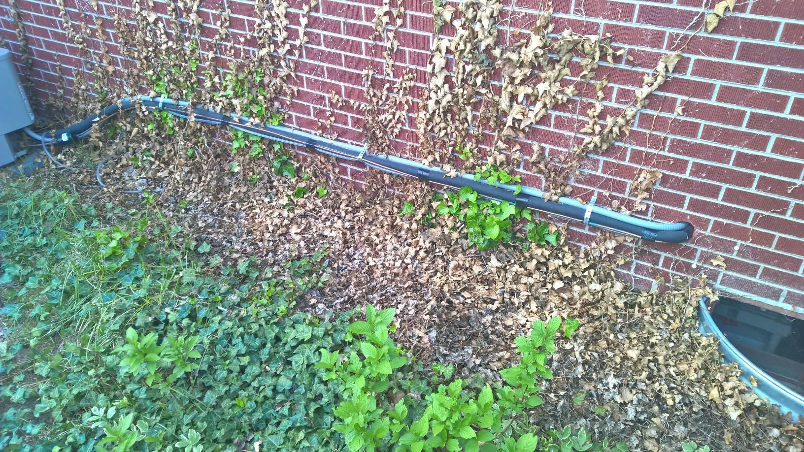 hvac  How to hide AC lines up against brick siding  Home