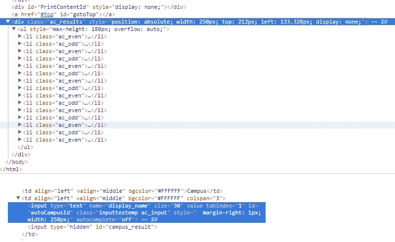 jquery - Auto suggest choosing input matched selection in selenium python doesnt work - Stack Overflow