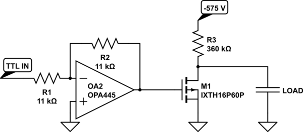 Using a MOSFET to switch a High Voltage on a Capacitive