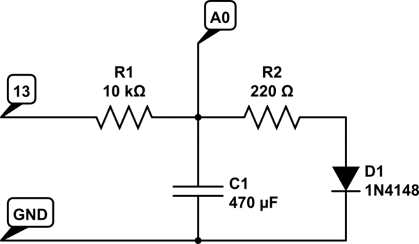 Charge discharge curve of a capacitor, Arduino