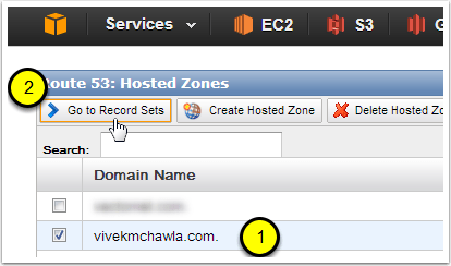 Open the Route 53 Management Console to Add Record Sets to your Hosted Zone