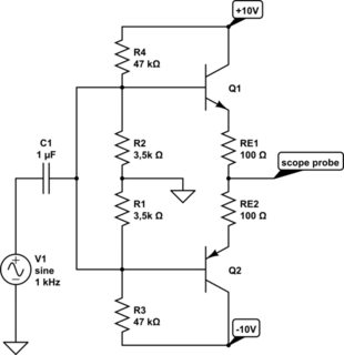 Simple Class A Output Power Stage of Amplifier