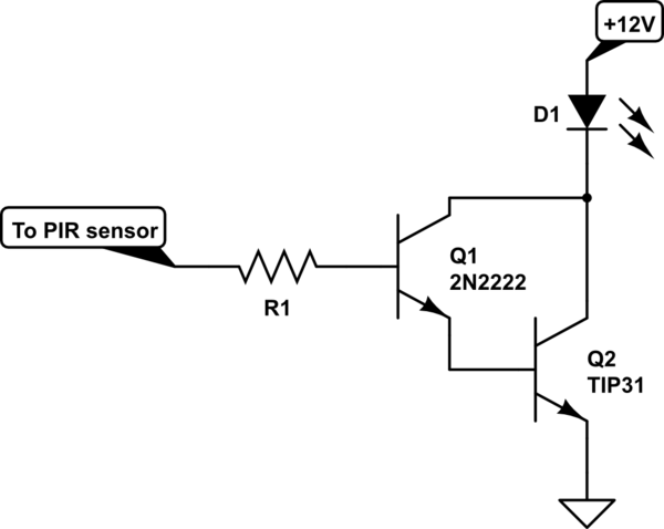 pir sensor wiring diagram unlabeled muscles blank led not triggering p2n2222 electrical engineering schematic