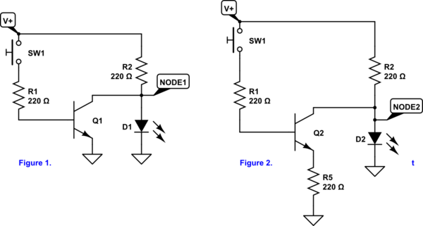 LED in NOT gate confusion: LED voltage drop vs transistor