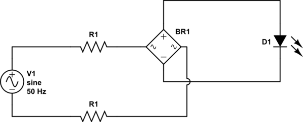 What should my resistor wattage be to run a LED on 240VAC