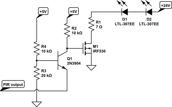 PIR sensor 3.3V output driving a mosfet loaded with 24V