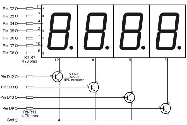 Como usar um ânodo comum de 7 segmentos, display de 4 dígitos?