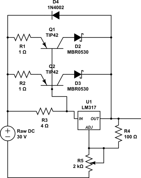 LM317 based voltage regulated high current power supply