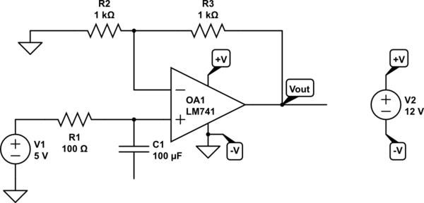 inverting op amp circuit breadboard schematic
