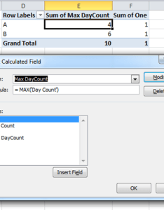 wanted to use the day count in  calculated field but that gave some strange results  dmax  as see screenshot also weird behavior pivot table excel super user rh superuser