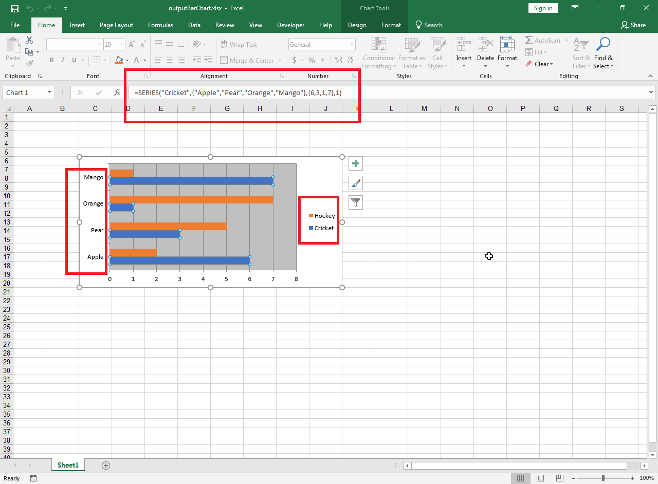 Create Excel Bar Chart From A Data Source In C Code